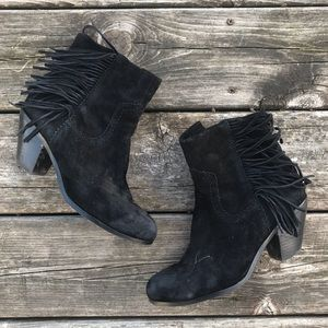 Sam Edelman Suede Fringe Detailed Ankle Boots